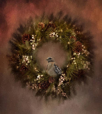 Christmas Wreath Art Print by Kim Hojnacki