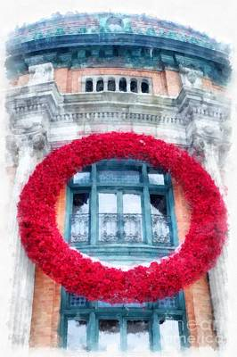 Photograph - Christmas Wreath Old Quebec City by Edward Fielding