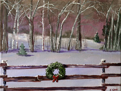Painting - Christmas Wreath On Fence  by Catherine Link