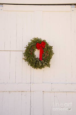 Photograph - Christmas Wreath On Old Barn Door by Alana Ranney
