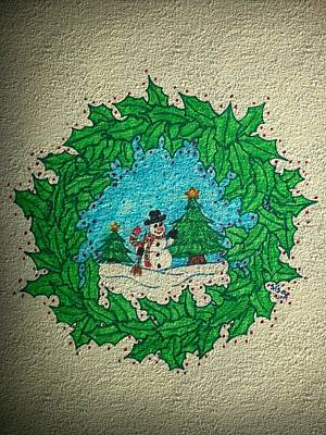 Drawing - Christmas Wreath by Susan Turner Soulis