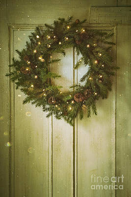 Photograph - Christmas Wreath With Lights On Vintage Door by Sandra Cunningham