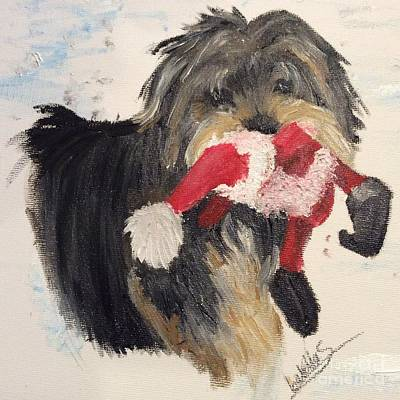 Painting - Christmas Yorkie by Abbie Shores