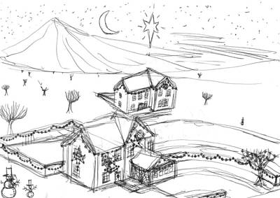 Matthew Joseph Williams Painting - Christmassy Houses by Artists With Autism Inc