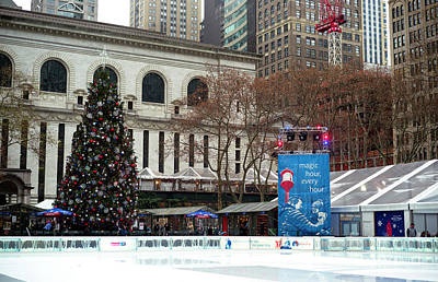Photograph - Christmastime At Bryant Park by John Rizzuto
