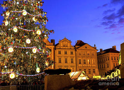 Photograph - Christmastime In Old Town Square Prague by John Rizzuto