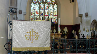 Art Print featuring the photograph Christogram Ihs On Pulpit Cloth In Gothic English Church by Jacek Wojnarowski