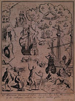 Columbus Drawing - Christopher Colombus Discovering The Islands Of Margarita And Cubagua Where They Found Many Pearls by Spanish School
