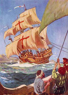 Christopher Columbus Drawing - Christopher Columbus Leaves The Coast by Vintage Design Pics