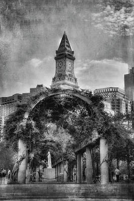 Photograph - Christopher Columbus Park - Black And White - North End - Boston by Joann Vitali