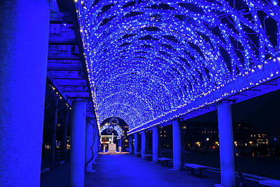 Photograph - Christopher Columbus Park Lit Up In Blue Boston Ma Glow by Toby McGuire