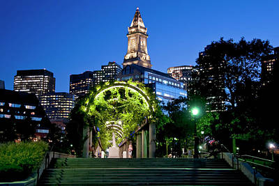 Photograph - Christopher Columbus Park - Marriott Custom House - Boston  by Joann Vitali