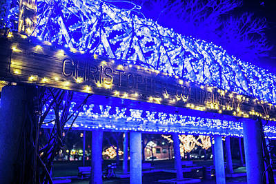Christopher Columbus Park Trellis Lit Up For Christmas Boston Ma Xmas Art Print by Toby McGuire