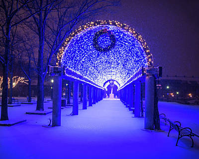 Photograph - Christopher Columbus Park Trellis Lit Up For Christmas Snowstorm Boston Ma Bench by Toby McGuire
