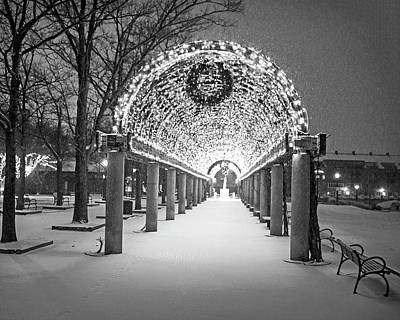 Christopher Columbus Park Trellis Lit Up For Christmas Snowstorm Boston Ma Black And White Print by Toby McGuire
