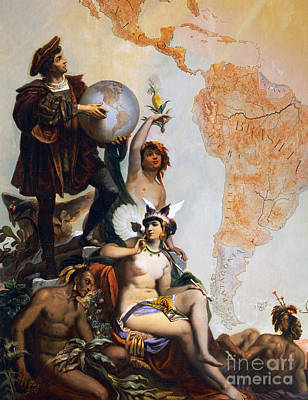 America The Continent Painting - Christopher Columbus by Peter Johann Nepomuk Geiger