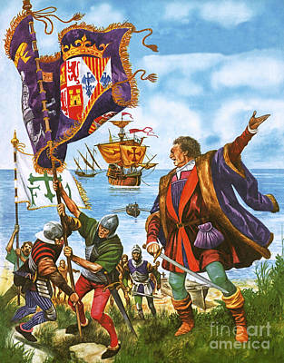 Colonial Troops Painting - Christopher Columbus Planting The Spanish Royal Standard On The Newly Found Land Of America by Peter Jackson