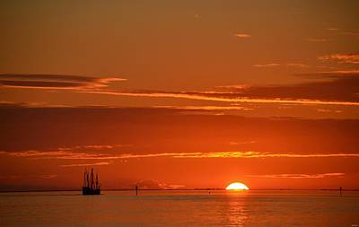 Photograph - Christopher Columbus Replica Wooden Sailing Ship Nina Sails Off Into The Sunset by Jeff at JSJ Photography