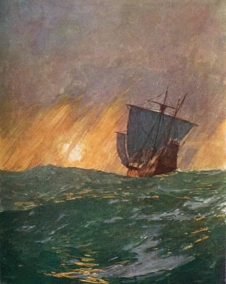Christopher Columbus Drawing - Christopher Columbus Sailing Westward by Vintage Design Pics