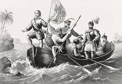 Christopher Columbus Drawing - Christopher Columbus Setting Foot In by Vintage Design Pics