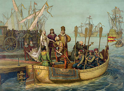 Christopher Columbus Taking Leave Art Print by American School