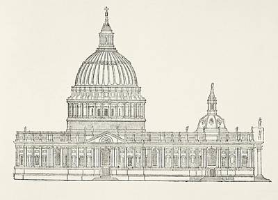 Wren Drawing - Christopher Wren S First Design For The by Vintage Design Pics
