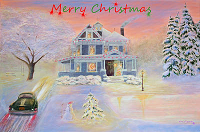 Outdoors Painting - Chritmas Eve Card by Ken Figurski