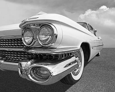 Photograph - Chrome Heaven - '59 Cadillac In Black And White by Gill Billington