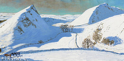Ice Climbing Painting - Chrome Hill, Derbyshire by Andrew Macara