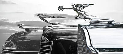 Photograph - Chrome Hood Ornaments Vintage Cars by Larry Butterworth
