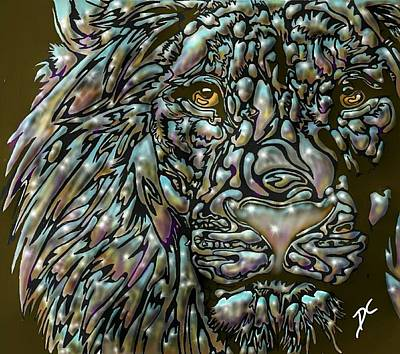 Digital Art - Chrome Lion by Darren Cannell