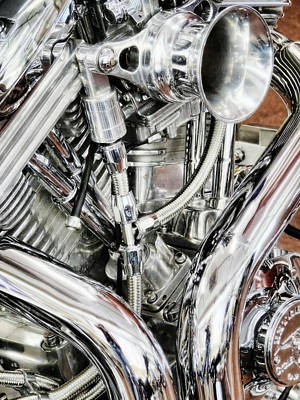 Photograph - Chrome Motorcycle Engine  by Saija Lehtonen