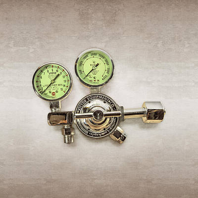 Welding Photograph - Chrome Regulator Gauges by YoPedro