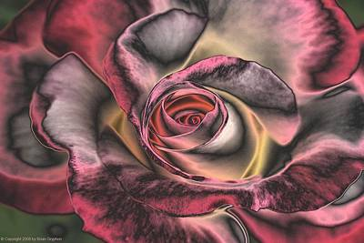 Digital Art - Chrome Rose 368 by Brian Gryphon