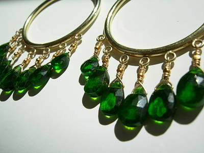 Adove Jewelry - Chromium Diopside Hoops by Adove  Fine Jewelry