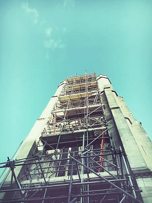 Refurbished Photograph - Chruch Tower Repairs by Tom Gowanlock