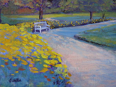 Painting - Chrysanthamum Bench by Judy Fischer Walton