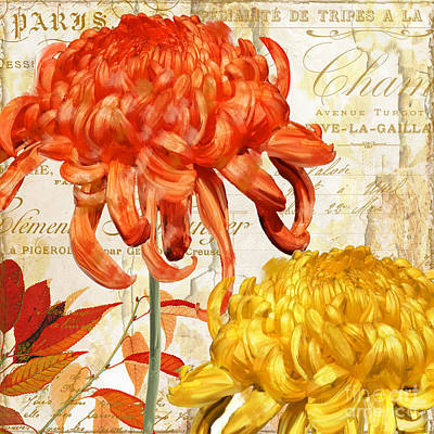 French Script Painting - Chrysanthemes II by Mindy Sommers