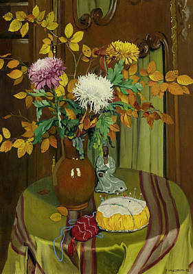 Chrysanthemum And Autumn Foliage Art Print by Felix Vallotton