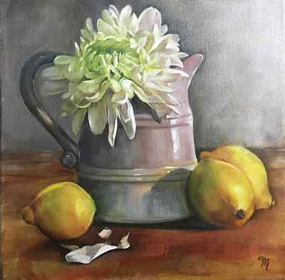 Painting - Chrysanthemum And Lemons by Trish Mitchell