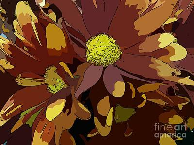 Flourish Drawing - Chrysanthemum Flower - Brown And Yellow by Carina Lemos Araujo