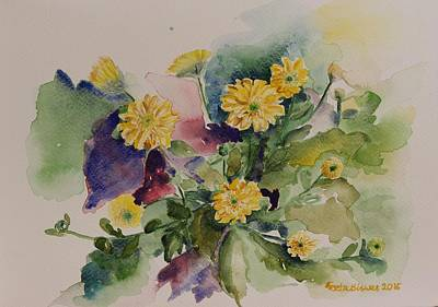 Painting - Chrysanthemum Flowers Still Life In Watercolor by Geeta Biswas