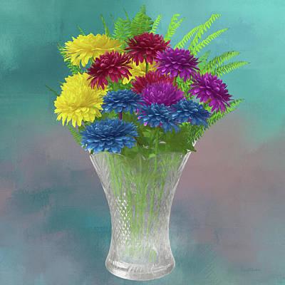 Painting - Chrysanthemum Rainbow And Crystal Vase-painted by Ericamaxine Price