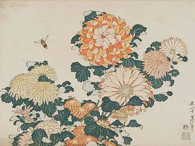 Painting - Chrysanthemums And Horsefly by Katsushika Hokusai