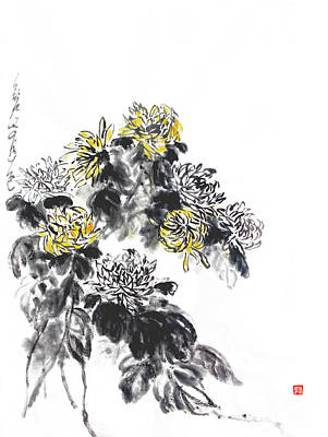 Painting - Chrysanthemums Are Lovely In Autumn by Nadja Van Ghelue