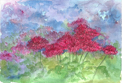 Print featuring the painting Chrysanthemums by Cathie Richardson