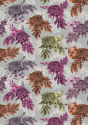 Pen Drawings Drawing - Chrysanthemums Color Repeat by Stephanie Davies