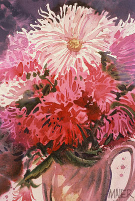 Mums Painting - Chrysanthemums by Donald Maier