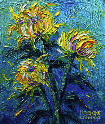 Chrysanthemums Etude Art Print by Mona Edulesco