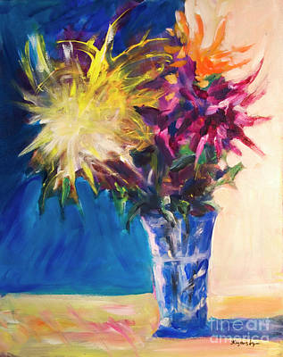 Chrysanthemums In A Blue Vase. Original